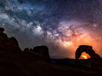Delicate Arch Milky Way & Pack Creek Fire