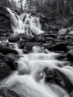 Bastion Falls and Spruce Creek B&W