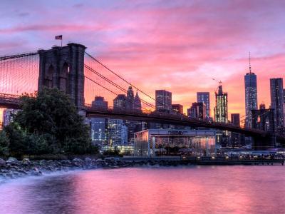 Brooklyn Bridge Pink Sunset