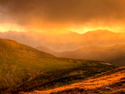 Golden Hour Storm over the Never Summer Mountains (Click for full width)