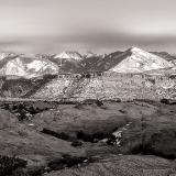 La Sal Mountains and Sand Flats Black & White Panorama
