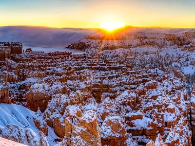 Silent City Winter Sunrise Panorama (Click for full width)