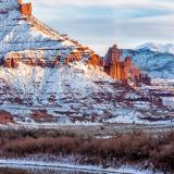 Fisher Towers Golden Light and Cololorado River Snow