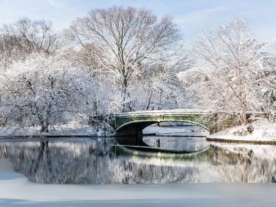 Lullwater Bridge Spring Snow Morning