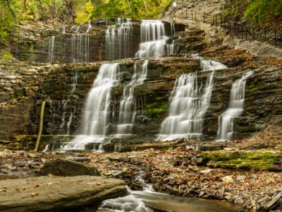Waterfalls and Cornell Walkway in Cascadilla Gorge