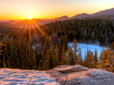 Rocky Mountain Golden Sunrise over Nymph Lake