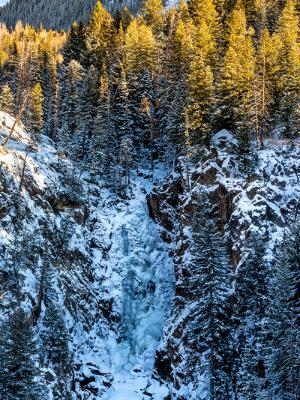 Fish Creek Falls Winter Vertical Panorama